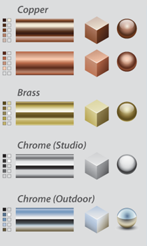 Gradients Library; Metals, painted, Natural and Gradient Meshes